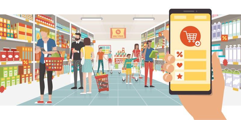Посещение магазина бакалеи app иллюстрация вектора