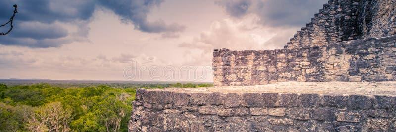 Посещение старого города Майя Calakmul - южные Юкатан - Mex стоковое изображение rf