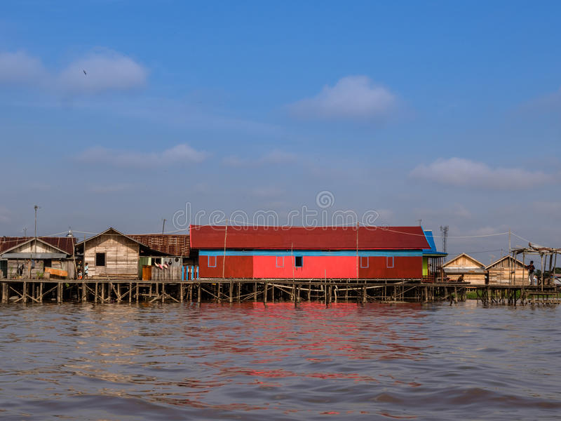 Поселение на банках Kahayan стоковое изображение