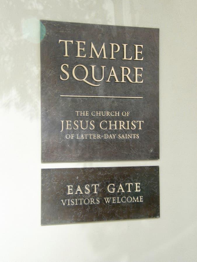 Последняя церковь Святых дня подписывает внутри квадрат виска стоковые изображения rf