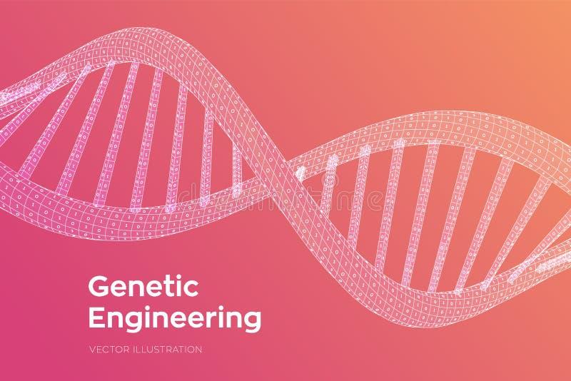 Последовательность ДНК Человеческий геном бинарного кода концепции E Искусственное intelegence бесплатная иллюстрация