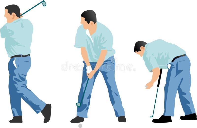 последовательность игрока в гольф иллюстрация вектора
