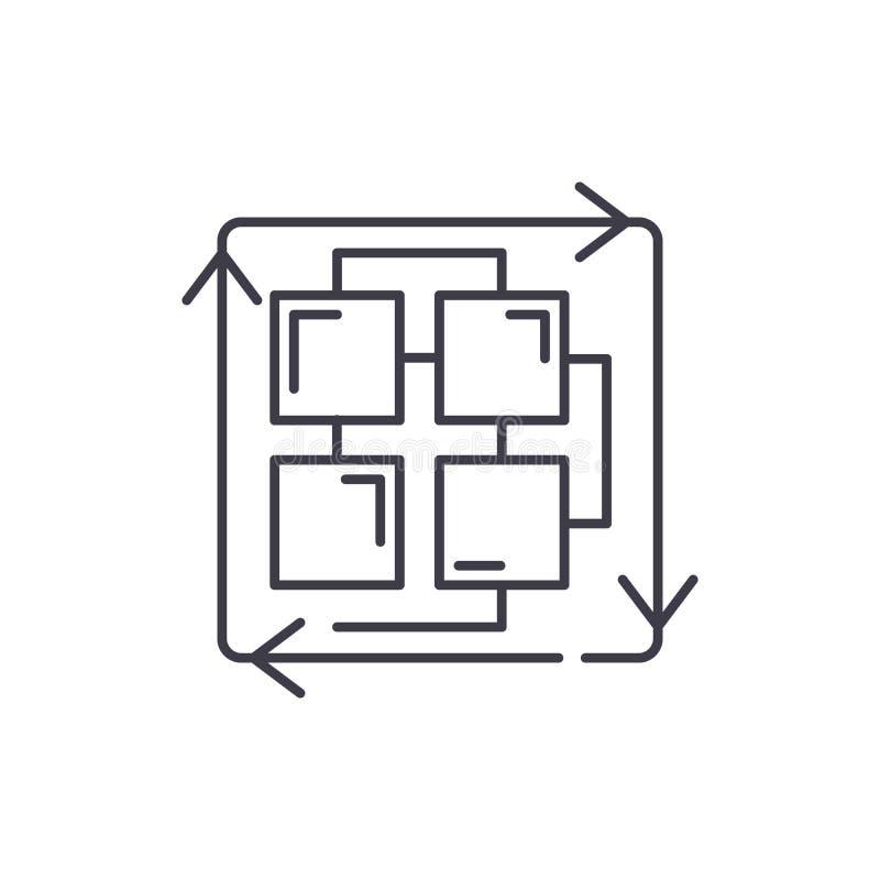 Последовательность линии процессов концепции значка Последовательность иллюстрации вектора процессов линейной, символа, знака иллюстрация вектора