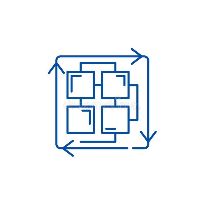 Последовательность линии процессов концепции значка Последовательность символа вектора процессов плоского, знака, иллюстрации пла иллюстрация вектора
