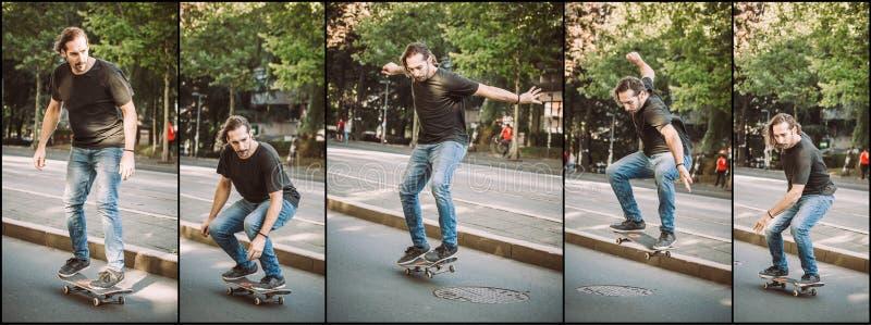 Последовательность скачки улицы люка -лаза skateboarding Ska школы бесплатного проезда стоковая фотография