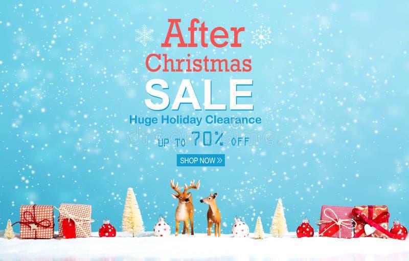 После сообщения продажи рождества с северным оленем и подарками рождества иллюстрация штока