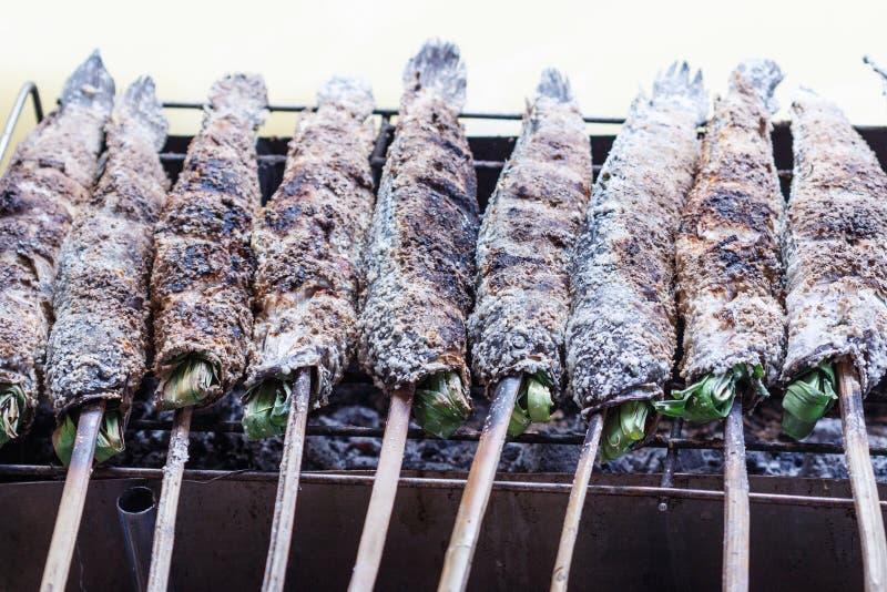 Посоленные рыбы snakehead решетки стоковые фотографии rf