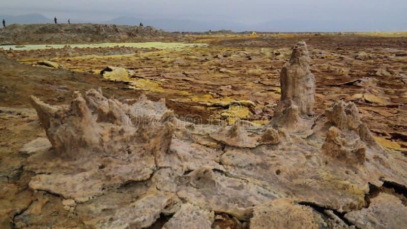 Посолите кратер Danakil Dallol конца-вверх структуры вулканический, Afar, Эфиопия стоковое изображение