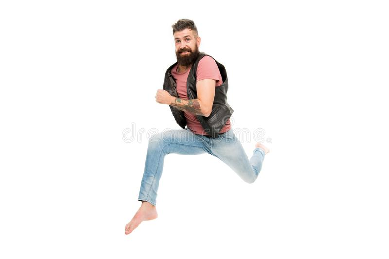 Поспешите вверх Сторона Гай счастливая жизнерадостная имея скакать бега потехи Жизнь в движении Бег парня человека бородатый проч стоковые изображения