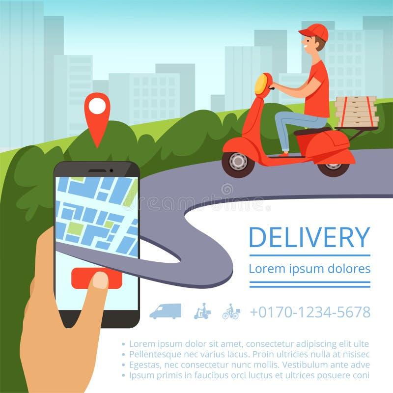 Поставка заказа онлайн Коробки пиццы доставки мотоцикла работника доставляющего покупки на дом системы слежения пересылки ландшаф бесплатная иллюстрация