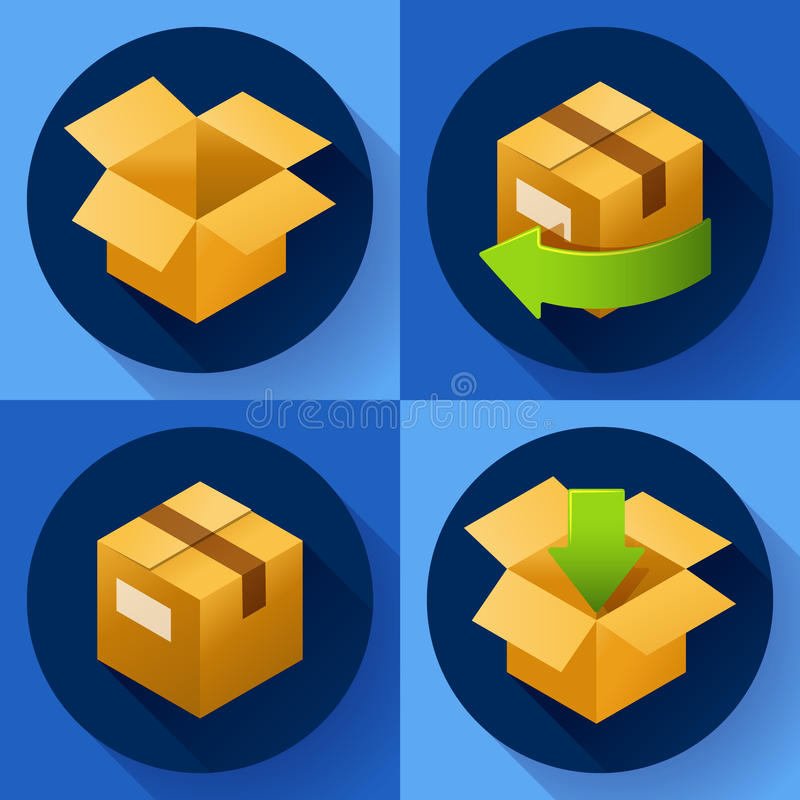 Поставка и свободно возвращение подарков или пакетов Значок концепции доставки для магазина бесплатная иллюстрация