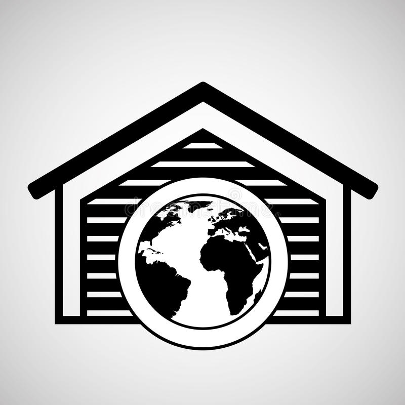 Поставка мира складского здания глобальная иллюстрация вектора