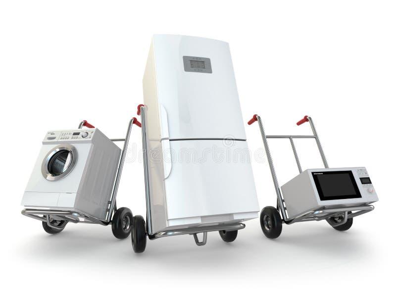 Поставка прибора Ручная тележка, холодильник, стиральная машина и micr иллюстрация штока