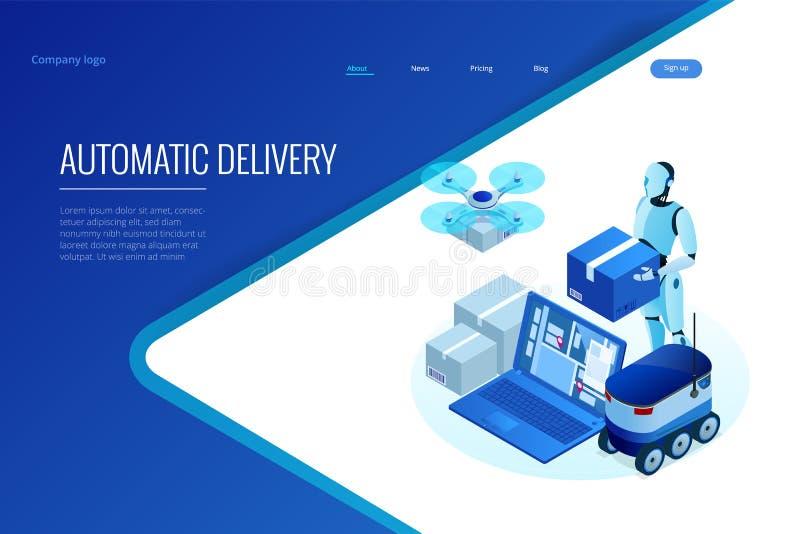 Поставка равновеликого трутня быстрая товаров в городе Технологическая концепция нововведения пересылки Автономное снабжение бесплатная иллюстрация