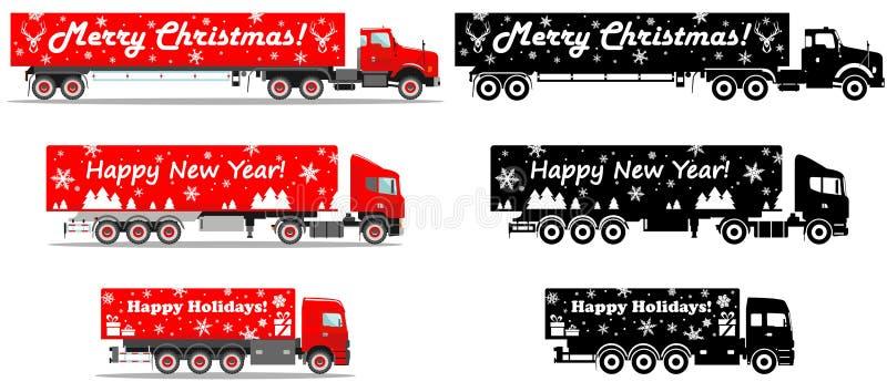 Поставка рождества и Нового Года Комплект различной детальной иллюстрации тележек поставки и черных силуэтов бесплатная иллюстрация