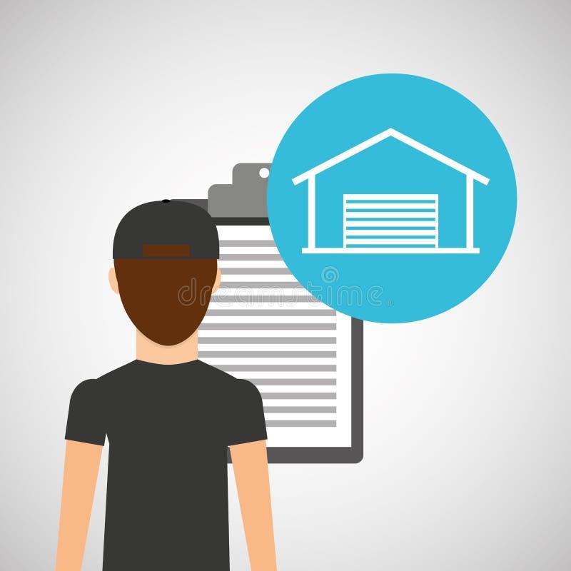 Поставка человека проверяя дизайн склада бесплатная иллюстрация