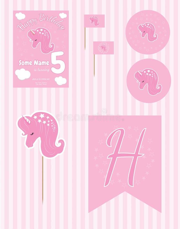 Поставки дня рождения, набор дня рождения, шаблон дня рождения единорога Editable иллюстрация вектора