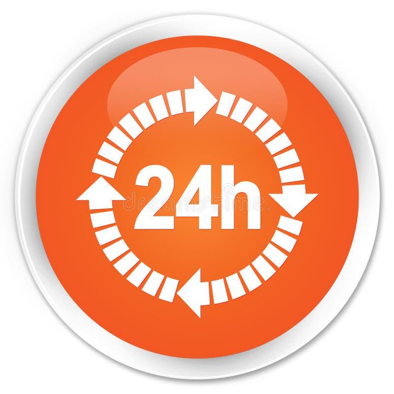24 поставки часа кнопки значка наградной оранжевой круглой иллюстрация вектора