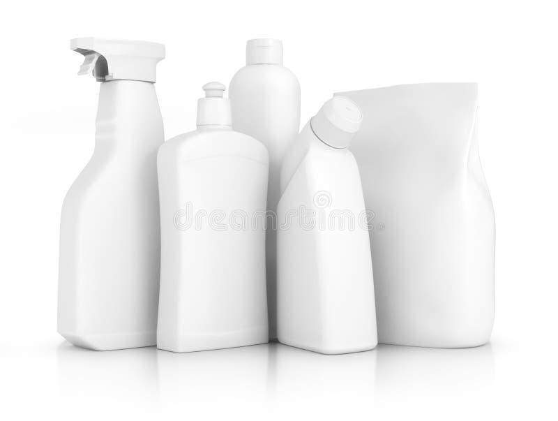 поставкы губок ткани чистки предпосылки новые померанцовые Бутылки тензида химиката домочадца стоковое фото rf