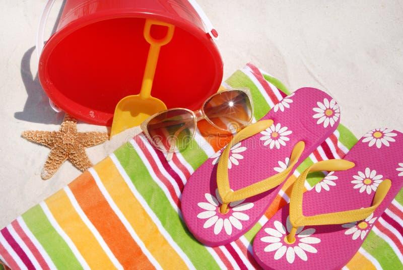 поставкы лета пляжа стоковые изображения rf