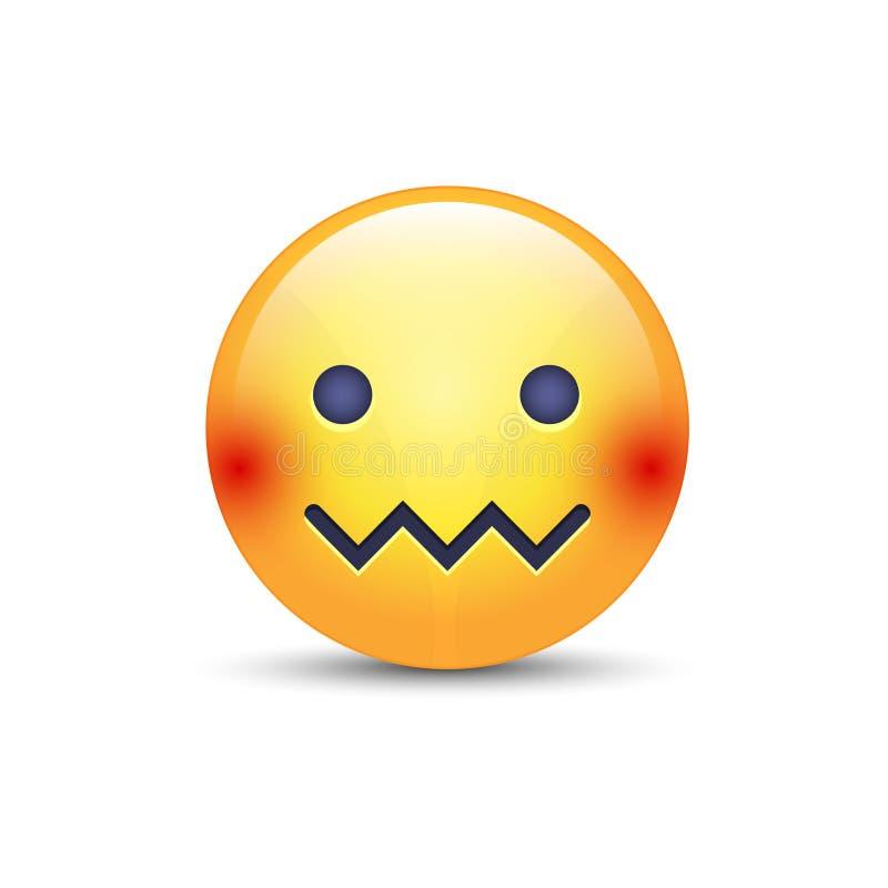 Поставленная в тупик сторона смайлика Сторона Молни-рта Смущенный смайлик с ртом в форме зигзага лицево иллюстрация вектора