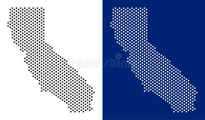 Поставленная точки карта Калифорнии иллюстрация вектора