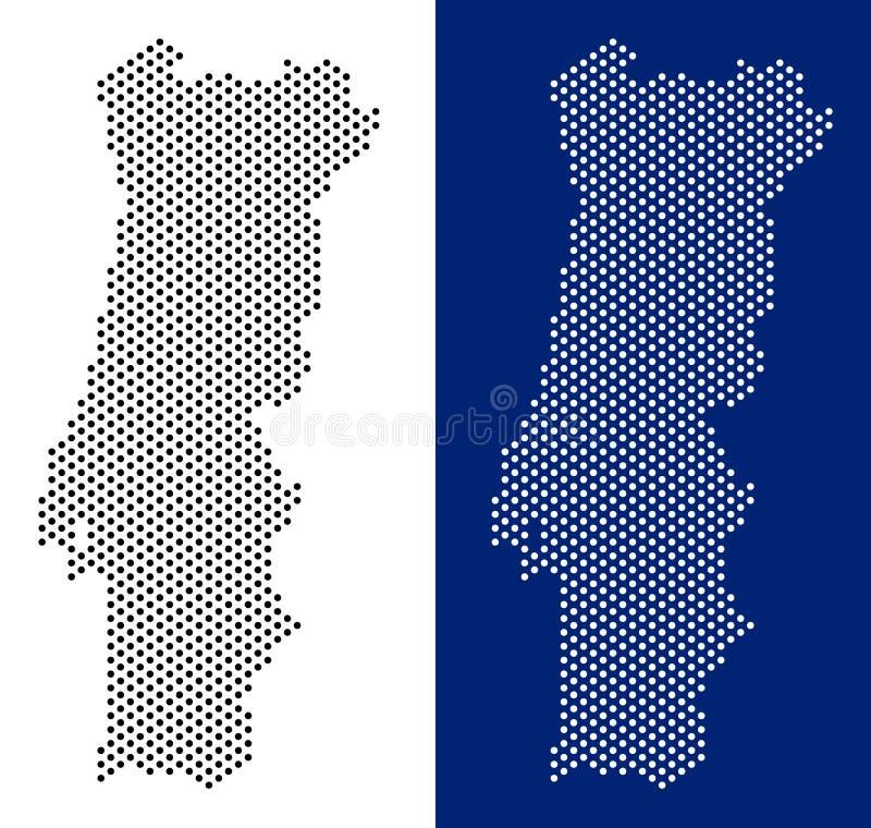 Поставленная точки карта Португалии иллюстрация штока