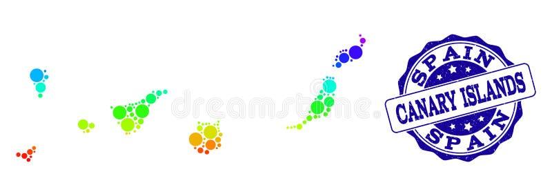 Поставленная точки карта радуги Канарских островов и уплотнения печати Grunge бесплатная иллюстрация