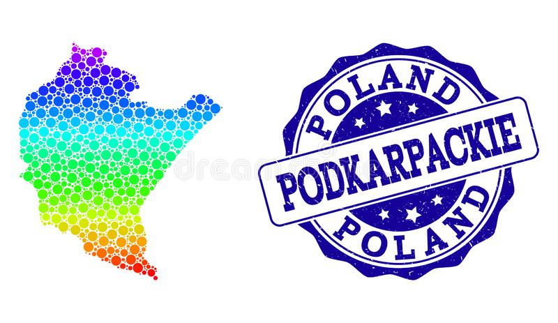 Поставленная точки карта радуги провинции Podkarpackie и уплотнения печати Grunge иллюстрация штока