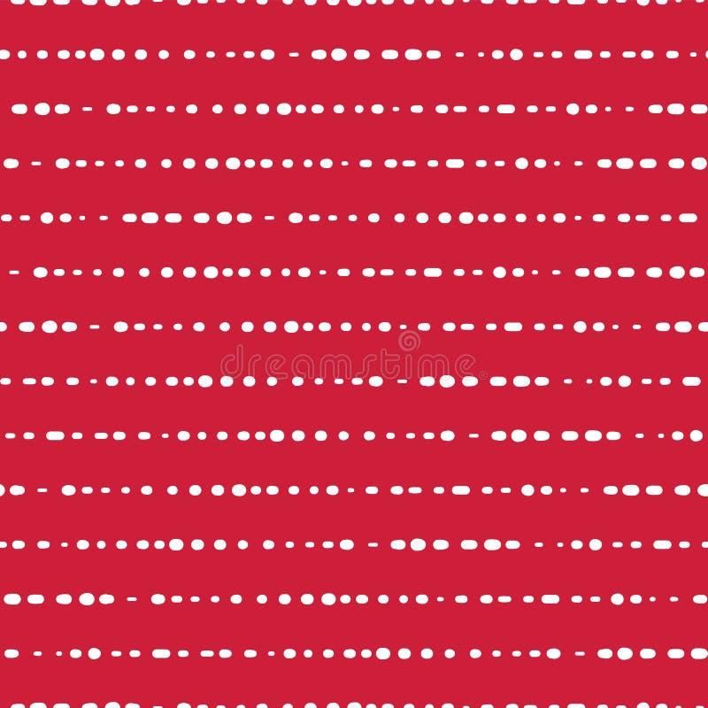 Поставленная точки предпосылка вектора горизонтальных прямых безшовная Белые точки на красной розовой предпосылке абстрактная кар иллюстрация штока