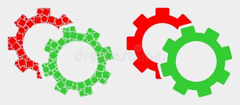 Поставленный точки и плоский значок Cogs вектора иллюстрация штока
