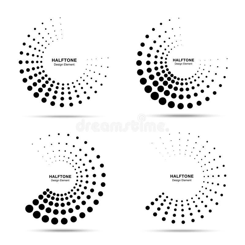 Поставленный точки полутоновым изображением набор эмблемы точек конспекта рамки круга Полумесяц Круглая текстура растра точек кру бесплатная иллюстрация