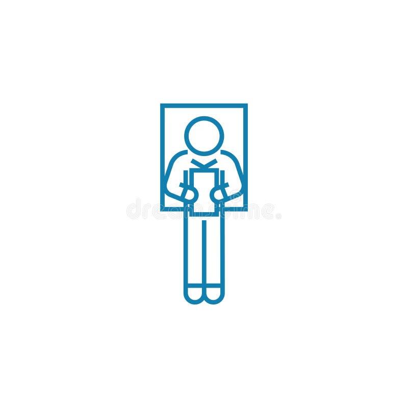 Поставлять концепцию значка речи линейную Поставляющ речь выровняйте знак вектора, символ, иллюстрацию бесплатная иллюстрация