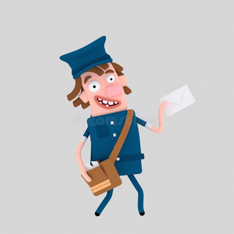 поставлять почтальон письма 3d иллюстрация штока