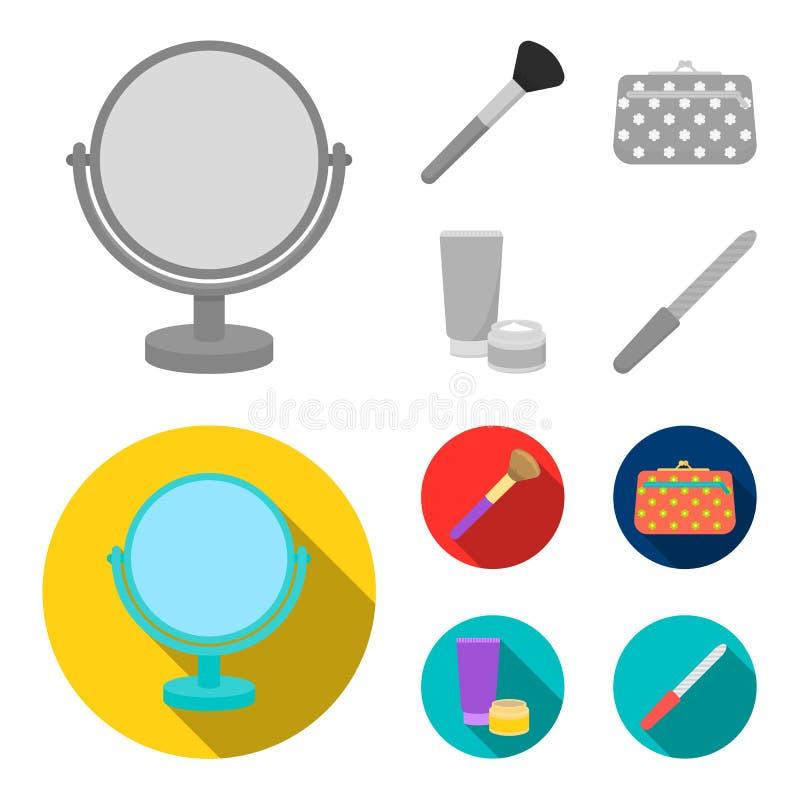 Поставьте зеркало на обсуждение, косметическую сумку, щетку стороны, сливк тела Значки собрания состава установленные в monochrom иллюстрация вектора
