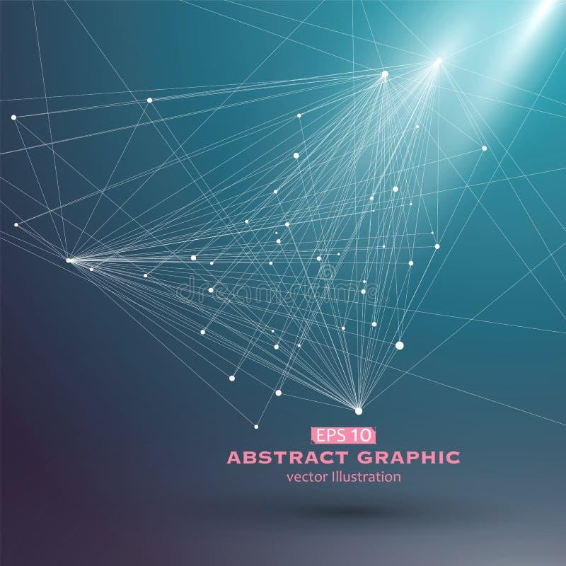 Поставьте точки и выровняйте состоять из абстрактных графиков, линии точки отсчета иллюстрация штока