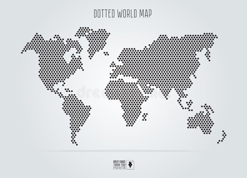 Поставленная точки абстрактная карта мира также вектор иллюстрации притяжки corel Черные круглые точки иллюстрация вектора