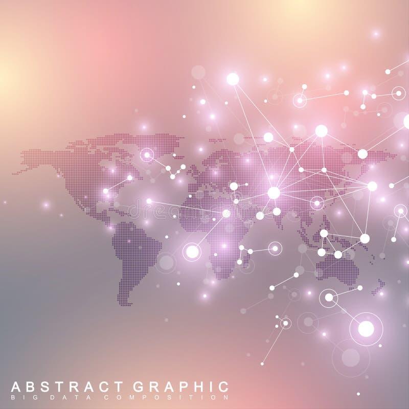 Поставленная точки карта мира с глобальной концепцией сети технологии Визуализирование цифровых данных Научная кибернетическая ча иллюстрация штока