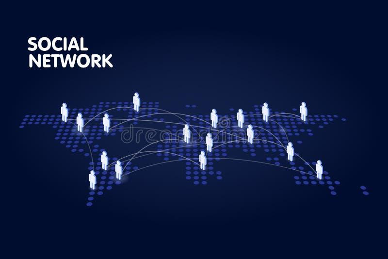 Поставленная точки карта мира с символом людей Социальная иллюстрация вектора концепции технологии сети иллюстрация штока
