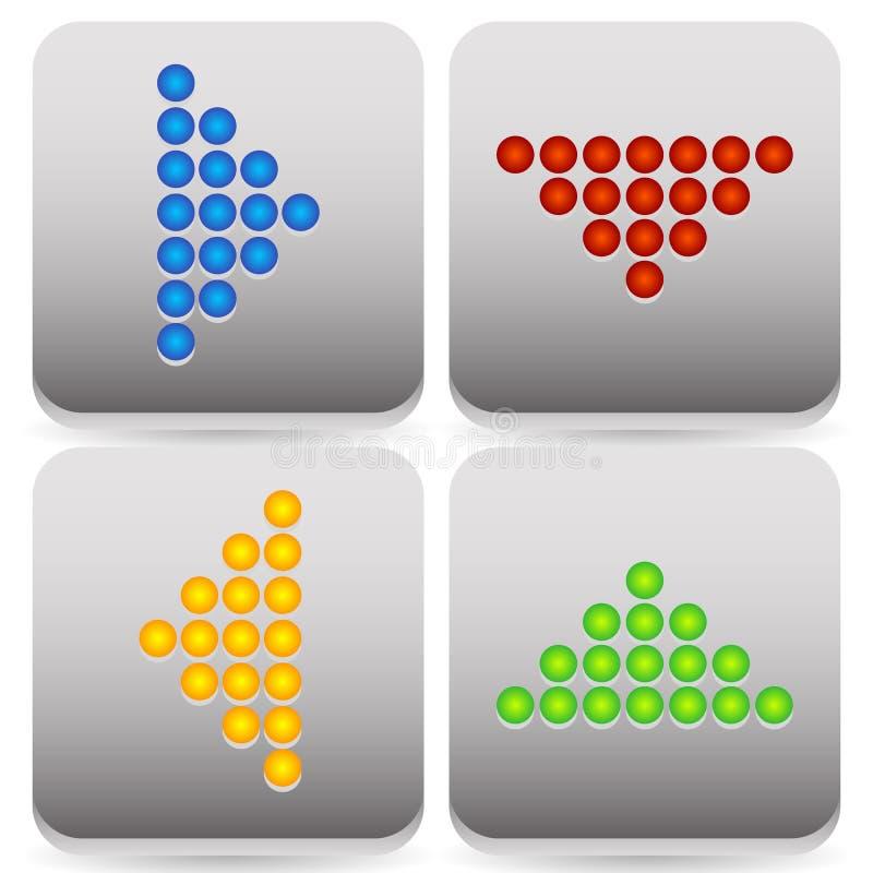 Поставленные точки значки стрелки иллюстрация вектора