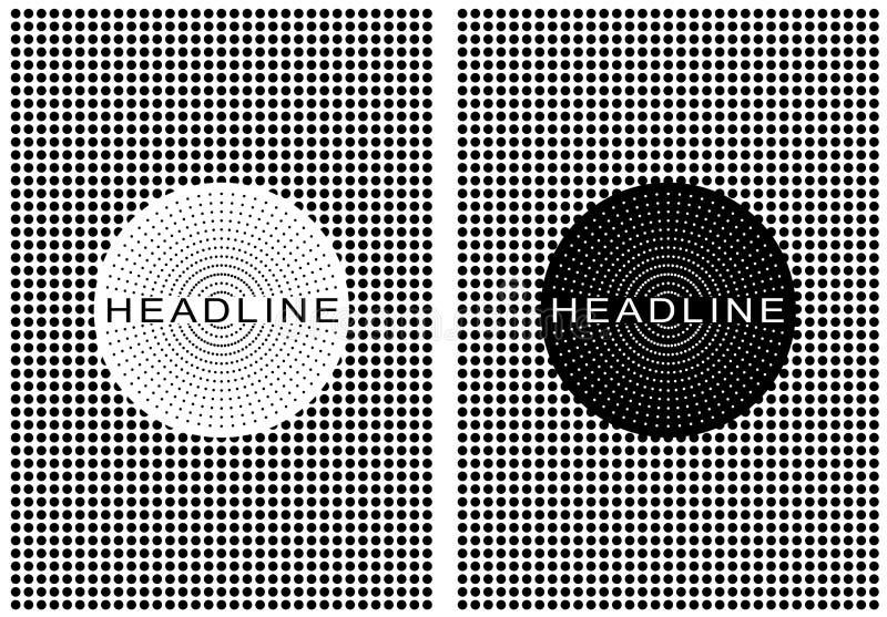 Поставленный точки ретро плакат черно-белый иллюстрация вектора