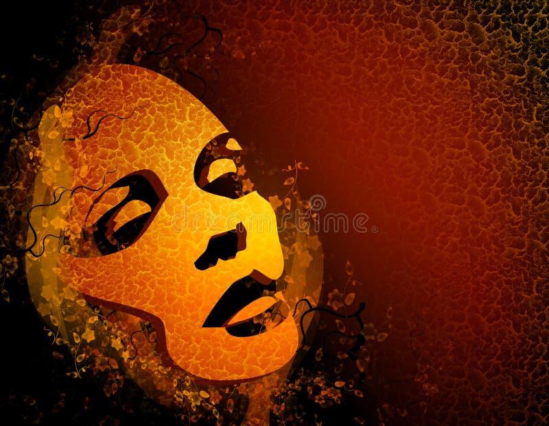 постаретая женская флористическая маска бесплатная иллюстрация