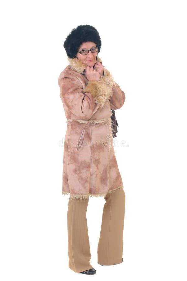 постаретая средняя женщина стоковая фотография