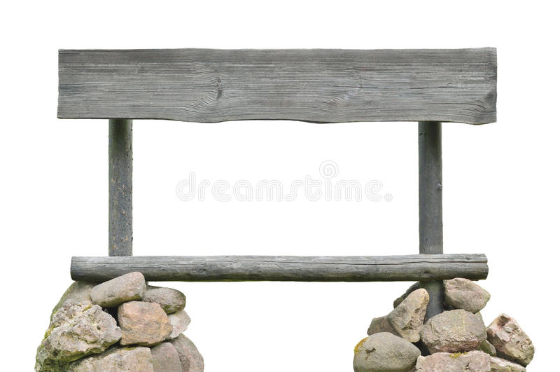 Постаретые крупный план планки шильдика указателя деревянный, серая горизонтальная изолированная предпосылка космоса экземпляра,  стоковое фото