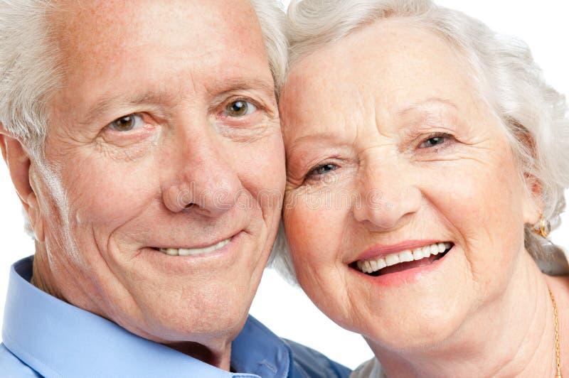 постаретый портрет пар счастливый стоковая фотография rf