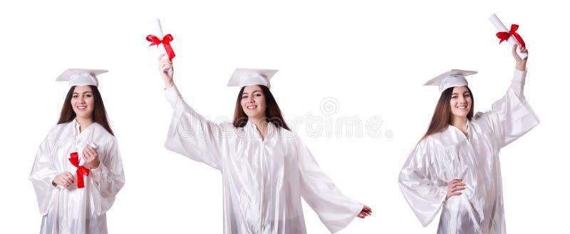 Постдипломная девушка при диплом изолированный на белизне стоковые изображения