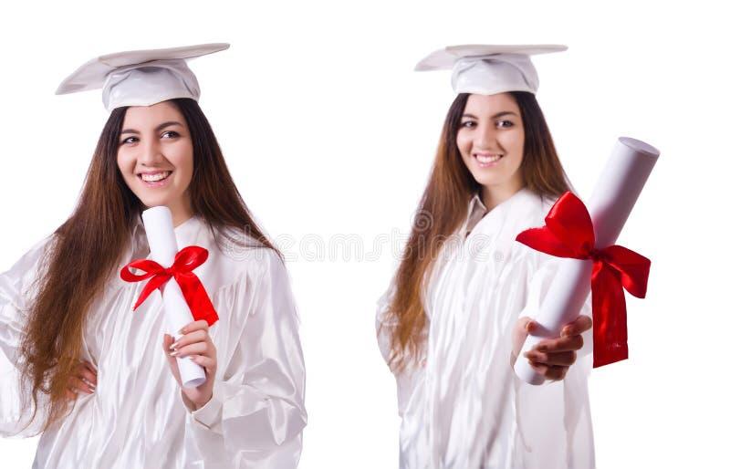 Постдипломная девушка при диплом изолированный на белизне стоковое изображение rf