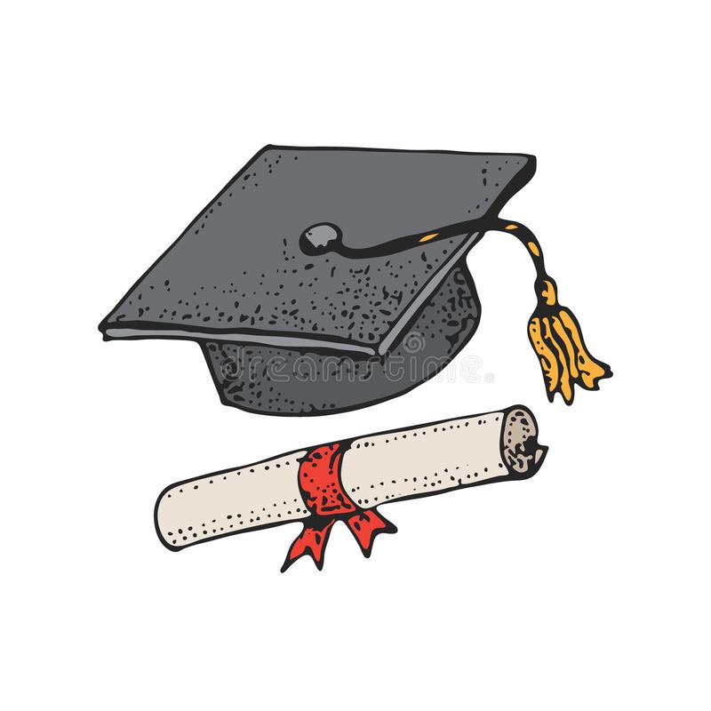 Постдипломная картина черной шляпы шаржа с дипломом, крышками градации, квадратной академичной крышкой, mortarboard для коллежа,  бесплатная иллюстрация