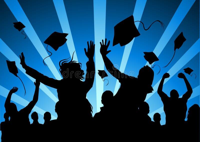 постдипломные счастливые студенты бесплатная иллюстрация