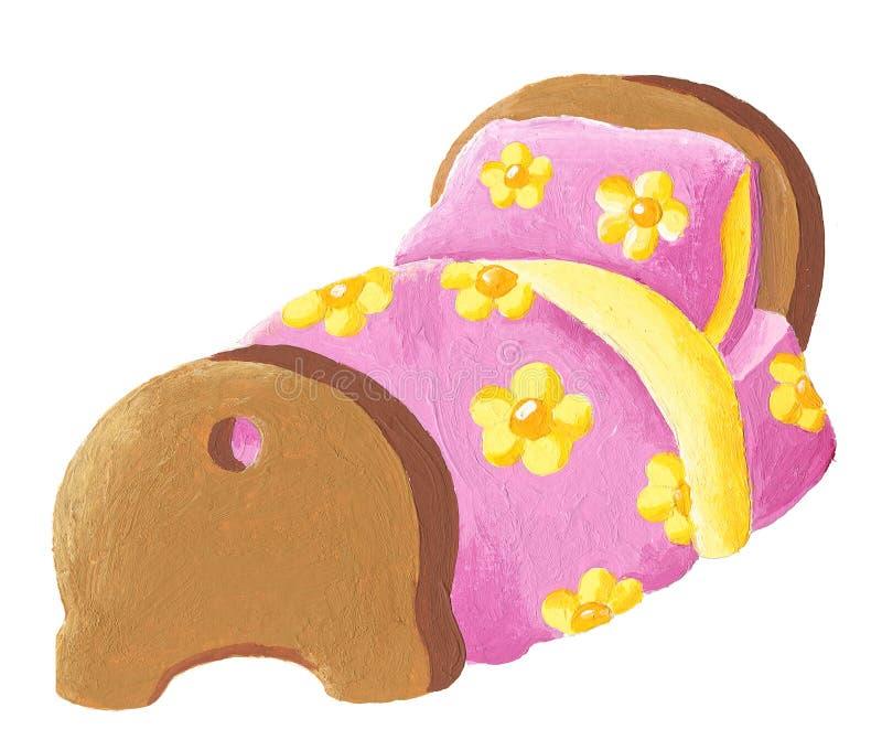 постельные принадлежности кровати флористические иллюстрация штока